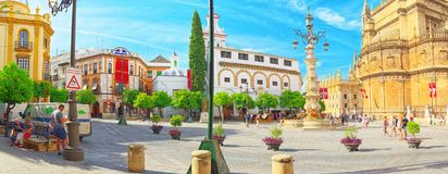 Square Virgin Of The Kings Plaza Virgen De Los Reyes And Monum Stock Images