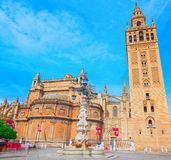 Square Virgin Of The Kings Plaza Virgen De Los Reyes And Monum Stock Image