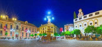 Square Virgin Of The Kings Plaza Virgen De Los Reyes And Monum Royalty Free Stock Photo