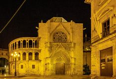 Square of the Virgin Saint Mary with Cathedral, Valencia, Spain. royalty free stock photos