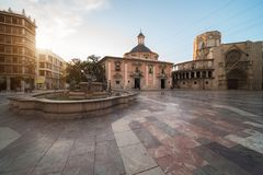 Square of the Virgin Saint Mary, Valencia Cathedral, Basilica of Stock Photography