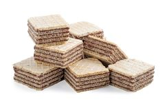 Square wafer biscuits isolated on white stock photo