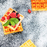 Square waffles and fresh summer berries Stock Image