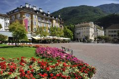 Square of Walther von der Vogelweide in Bolzano stock images