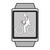 Square watch with cartoon human working out,  graphic Stock Image