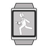 Square watch with cartoon human working out,  graphic Royalty Free Stock Photo