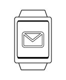 Square watch and mail  icon,  graphic Royalty Free Stock Photos