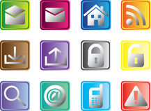 Square Web Buttons. Set of multicolored square web buttons Stock Photography