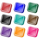 Square web buttons angled. Square angled web buttons set in nine assorted colors with reflection. Isolated on white vector illustration