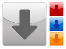 Square web buttons arrow down Stock Images