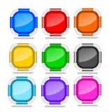 Square Web Buttons with Bevel Rims Stock Photo