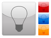 Square web buttons bulb Royalty Free Stock Image