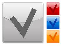 Square web buttons check Royalty Free Stock Photo