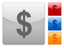 Square web buttons dollar. Color square web buttons. Vector illustration Royalty Free Stock Image