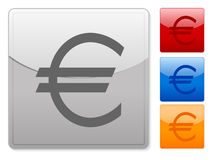 Square web buttons euro. Color square web buttons. Vector illustration Stock Image