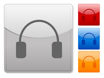 Square web buttons headphone Stock Photo