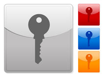 Square web buttons key Royalty Free Stock Photos