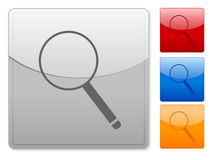 Square web buttons magnifier Royalty Free Stock Photo