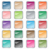Square web buttons set of 20 in assorted colors. Web buttons. Square set of 20 push buttons in assorted colors. Isolated on white vector illustration