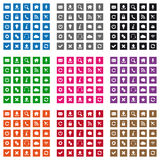 Square web icons. Set of flat design web icons in various colors Stock Photos