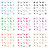 Square web icons. Set of flat design web icons in various colors Stock Images