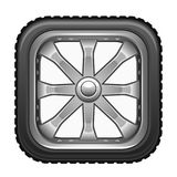 Square wheel. On a white background Stock Photography