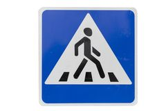 Square with white border road sign `Pedestrian crossing` isolate. D on white royalty free stock photography
