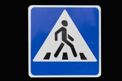 Square with white border road sign `Pedestrian crossing` isolate. D on black royalty free stock photos