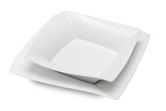 Square white ceramic bowl and dish Royalty Free Stock Photography