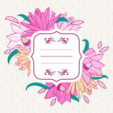 Square white frame with pink lotus and lily flowers. Stock Photo