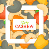 Square white frame and rectangle label on cashew nuts background. Vector card illustration. Royalty Free Stock Photo