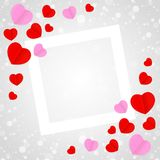 Square white frame and red pink heart shape for template banner valentines card grey background, many hearts shape on grey stock illustration