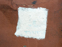 Square white paint on an old plaster wall Royalty Free Stock Photo
