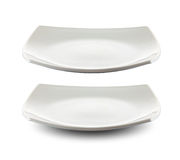 Square white plate isolated clipping path Royalty Free Stock Image