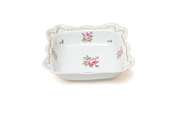 Square white porcelain dish with roses isolated Stock Images