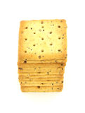 Square whole grain cracker stack Royalty Free Stock Photography