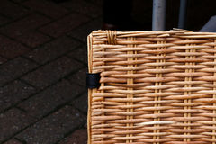 Square Wicker Basket on Antique Market Dark Background Royalty Free Stock Photography