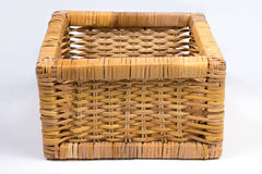 Square Wicker Basket  on White Front Angled View Stock Images
