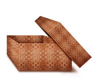 Square wicker box with lid open Royalty Free Stock Photos