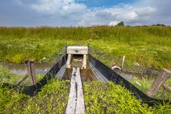 Square Wildlife crossing culvert underpass with gangplank. For animals under a highway in the Netherlands Stock Photography