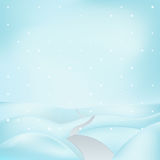 Square winter landscape view with road across hills at snowfall vector Royalty Free Stock Photography