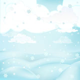 Square winter landscape view with snowy hills at cloudy snowfall vector Royalty Free Stock Photography
