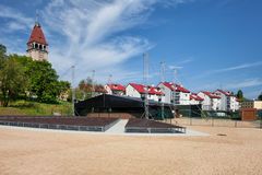 Square In Wladyslawowo With Amphitheatre And Town Skyline Stock Images