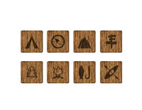 8 square wood outdoor icons Royalty Free Stock Image