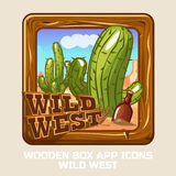 Square Wooden box WILD WEST, app icons Royalty Free Stock Image