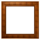 Square wooden frame. Empty wooden square picture frame Royalty Free Stock Photography