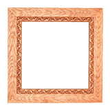 Square Wooden Frame. Retro square wooden frame with blank space and ornamented with carved leaves. Isolated on white Royalty Free Stock Photos