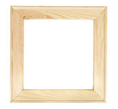 Square wooden picture frame on white backround Royalty Free Stock Images