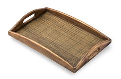 Square wooden tray on a white background. Royalty Free Stock Photos