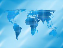 Square world map background. Square world map on a blue white background Royalty Free Stock Images